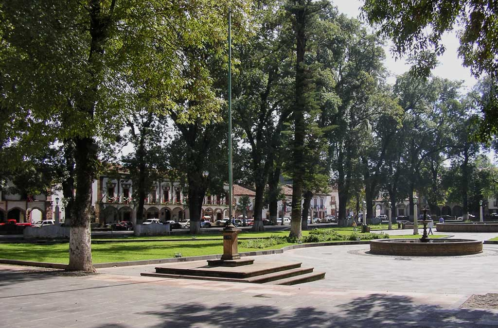 A September Morning in the central plaza in Patzcuaro