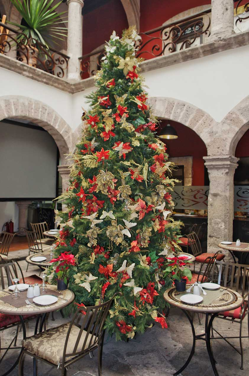 A Christmas Tree in a colonial atrium of the XX hotel in Centro Morelia.